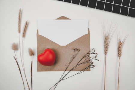 Blank white paper is placed on open brown paper envelope with red heart, Many kinds of dried flowers, Black cloth on white background. Valentine's day concept Stock Photo