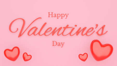Valentine's day with red heart and text. Pink background concept. 3D Rendering illustration Stock Photo