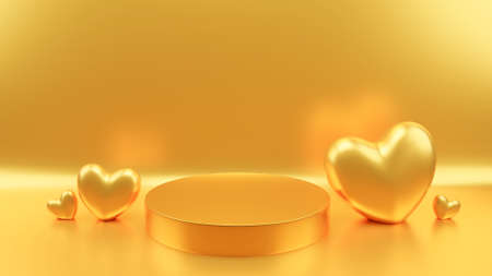 Circle podium gold pastel color gold heart. Valentine's day concept. Mock-up showcase for product. 3D Rendering illustration.