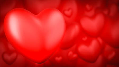 Red heart background. Valentine's day concept. 3D Rendering illustration Stock Photo