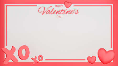 Valentine's day with red heart, xo xo text and copy space. Postcard concept. 3D Rendering illustration