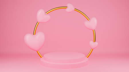 Circle podium pink pastel color with pink heart and gold ring. Valentine's day concept. Mock-up showcase for product. 3D Rendering illustration