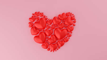 Red heart with pink background. Valentine's day concept. 3D Rendering illustration