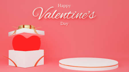 Red heart in open white gift box with red ribbon with circle podium and text. Valentine's day concept. 3D Rendering illustration