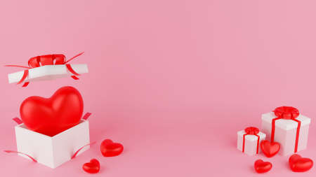 Red heart and Open, Close white gift box with red ribbon. Valentine's day concept. 3D Rendering illustration. Stock Photo
