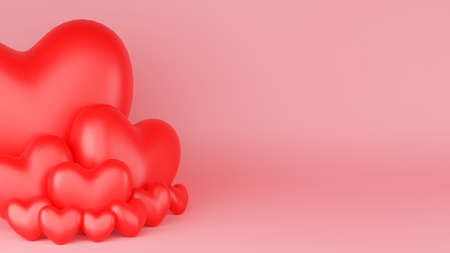 Red heart with pink background. Valentine's day concept. 3D Rendering illustration.
