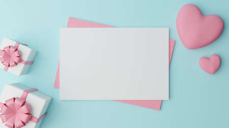 Blank white paper is placed on pink paper with pink heart and Close white gift box with pink ribbon on cyan background. Valentine's day concept Stock Photo