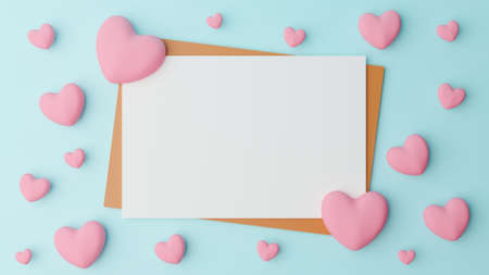 Valentine's day concept. Blank white paper is placed on brown paper with pink heart on cyan background. 3D Rendering illustration.