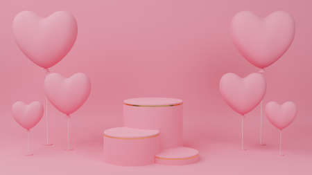 Valentine's day concept. Circle podium pink pastel color with gold edge, three rank and pink heart balloon. 3D Rendering illustration