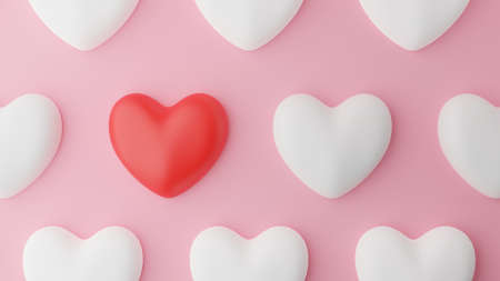 Top view of Red heart and white heart and pink background. Valentine's day concept. 3D Rendering illustration. Stock Photo