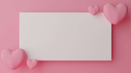 Valentine's day concept . Blank white paper with pink heart on pink pastel background. 3D Rendering illustration