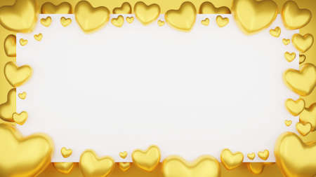 Top view of Gold heart with frame on white background. Valentine's day concept. 3D Rendering illustration.