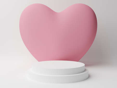 White circle podium with pink pastel heart with white background. Valentine's day concept. Mock-up showcase for product. 3D Rendering illustration Stock Photo