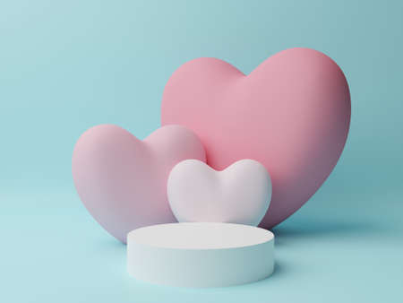 White circle podium with pink, white heart with cyan background. Valentine's day concept. Mock-up showcase for product. 3D Rendering illustration