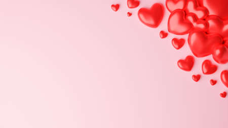 Top view of Red heart on pink background. Valentine's day concept. 3D Rendering illustration.