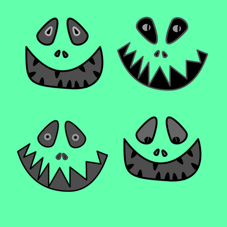 toothy smile: cartoon anime monster face with big toothy smile and sticking out tongue Vector
