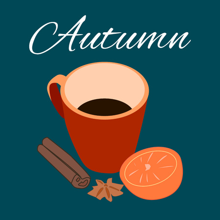 cinnamon: hot chocolate with orange and cinnamon in cup. Illustration