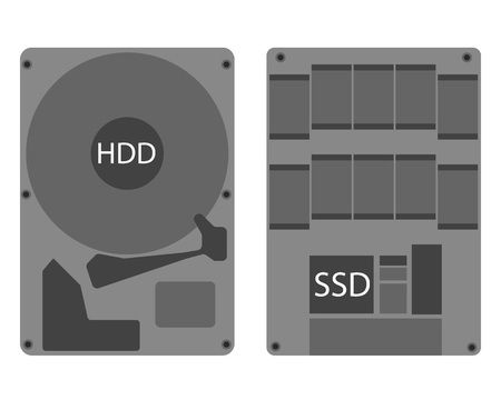 raid: Hard disk drive hdd and ssd icon eps 10 Illustration