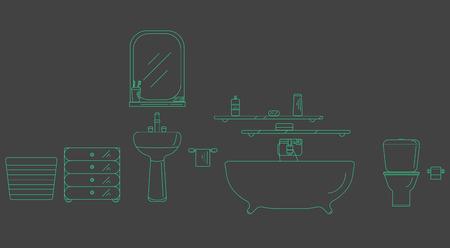 shower room: The interior of the shower room. Elements for bathroom interior. Bathroom interior vector. Bathroom interior outline.