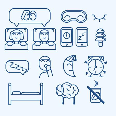 sleeping pills: Vector isolated sleep concept icons set: pillow, bed, moon, sheep owl zzz