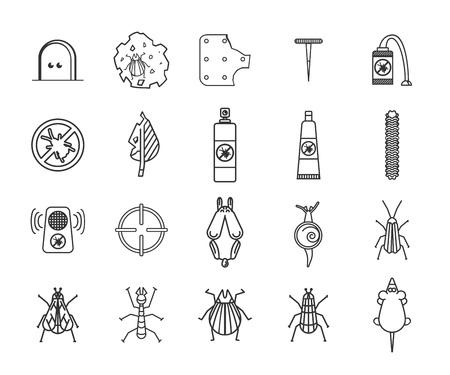 Pest und Insektenbekämpfungs-Icons gesetzt. Vektor-Illustration.