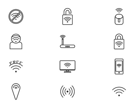 signal strenght: Wireless technology, black web icons set eps 10