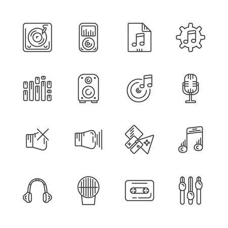 disk jockey: Set of line icons for music. Vector illustration. Stock Photo