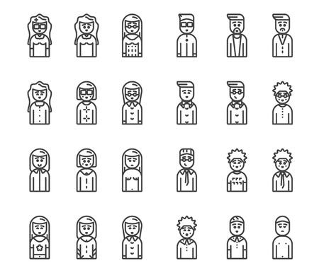 men and women avatars vector icon set eps 10