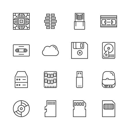 Data storage vector line icon set eps 10
