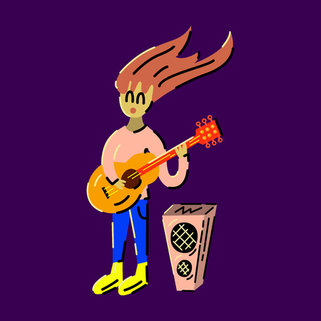 Singing girl with guitar. Vector illustration