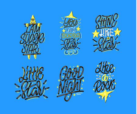 Lettering prints about stars Stock Illustratie