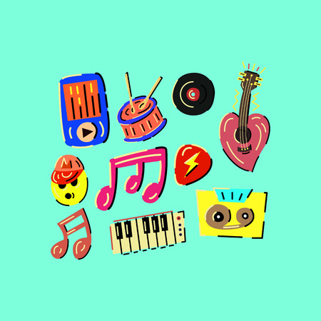 Music colored vector illustrations