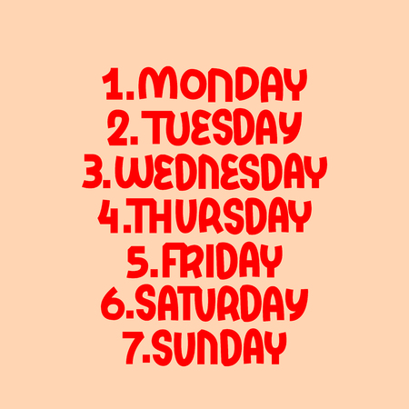 Days of the week. Lettering concept