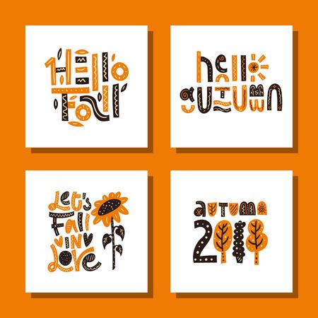 Autumn card set. Cute vector illustrations. Nursery print