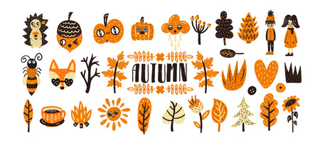 Cute aututmn illustration set. Vector bright collection. Nursery creator Illustration