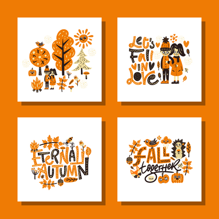 Autumn card set. Cute vector illustrations. Nursery print Illustration