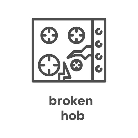 Simple modern line icon.Broken hob sign. Vector illustration. Broken Appliances symbol.