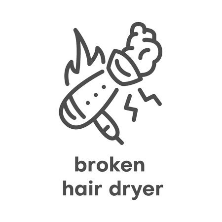 Simple modern line icon.Broken hair dryer sign. Vector illustration. Broken Appliances symbol. Vectores