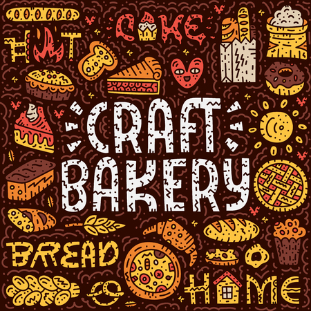 Craft bakery lettering card. Doodle vector illustration. Square bakey concept with bread, pizza, pie. Cartoon vector concept.