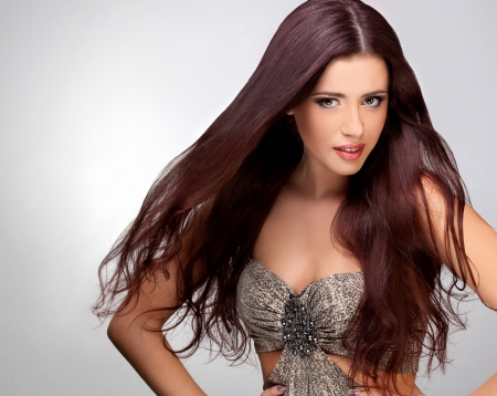 good quality: Long Smooth Hair  Portrait of Beautiful Brunette Woman   Good quality retouching