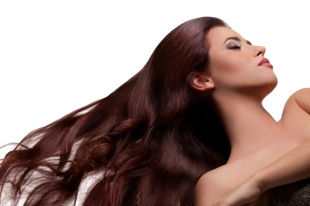 Long Smooth Hair  Portrait of Beautiful Brunette Woman   Good quality retouching  photo