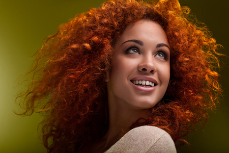 perfect waves: Beautiful Woman with Curly Long Hair