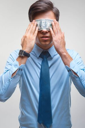 covering eyes: Businessman and Money covering eyes