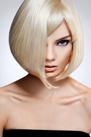 color hair: Portrait of beautiful blonde with with Short Hair Stock Photo