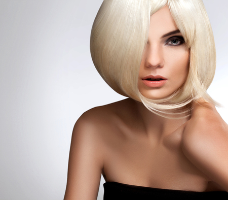 clean cut: Portrait of beautiful blonde with Short Hair Stock Photo