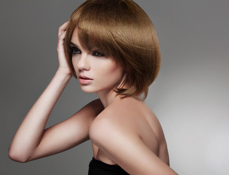 hair texture: Beautiful Woman with Bob Hairstyle