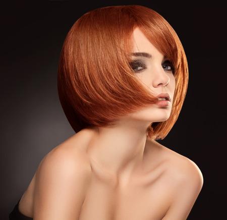 textura pelo: Mujer hermosa con el pelo corto