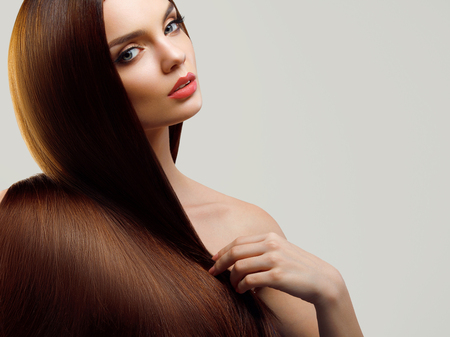 Portrait of Beautiful Woman with Long Hair Фото со стока - 45680219