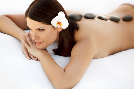 brunete: Close-up of a Beautiful Woman Getting Spa Treatment Stock Photo