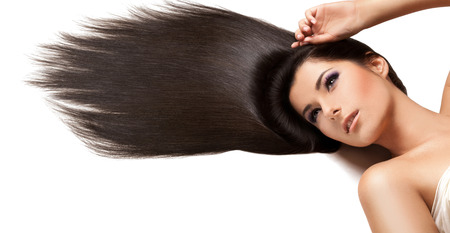 salon background: Beautiful Brunette with Long Hair